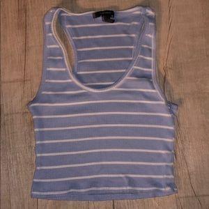 Blue striped crop top